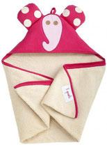 3 Sprouts Kaputzenbadetuch Elefant pink