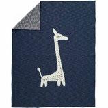 Fresk Bio-Strickdecke Giraffe blau 80x100 cm