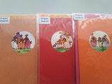 3er Set Aquarell Karten Jeje, orange,rot