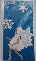 Karte mit Schneeeflockenelfe, azurblau