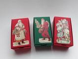 3er Set Schachteln Weihnachtsmänner  rot, grün, rot