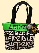große Tasche mit Leipzig Aufschrift und neongrünem Rand - Original Robin Ruth