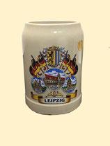 Bierkrug/ Beer Mug - 3 Ansichten mit Stadtwappen, Steingut