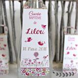 Collerettes / étiquettes personnalisées pour goulots de bouteilles - thème Liberty  : oiseaux et champs de fleurs : lot de 3 ou 10 - liberty au choix