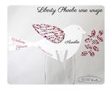 Marque-place mariage oiseau en liberty (au choix) avec impression de la date, de l'événement et du prénom de chaque invité