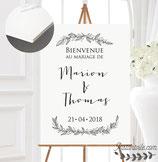 Panneau affiche de bienvenue de mariage - feuillage style dessiné main