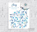 Tableau à empreintes personnalisé : attrape rêves en aquarelle avec plumes bleues