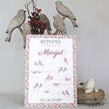Panneau affiche de bienvenue de baptême, mariage - Oiseaux en liberty sur fils