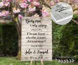 Panneau affiche de bienvenue de mariage - fond bois