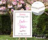 Panneau affiche de bienvenue de mariage - contour en liberty Éloïse rose