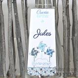 Collerettes / étiquettes personnalisées pour goulots de bouteilles - thème moulins à vent et date sur nuage : lot de 3 ou 10  - liberty au choix