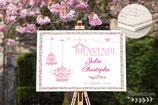 Panneau affiche de bienvenue de mariage - cages et oiseaux en liberty Éloïse rose