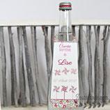 Collerettes / étiquettes personnalisées pour goulots de bouteilles - thème moulins à vent et guirlande de moulins en liberty  : lot de 3 ou 10 - liberty au choix