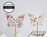 """lot de 10 pics en bois """"papillon en liberty - motif au choix"""""""
