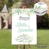 Panneau affiche de bienvenue de mariage - feuillage vert aquarelle