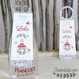 Collerettes / étiquettes personnalisées pour goulots de bouteilles - thème oiseaux et nichoir rond en liberty : lot de 3 ou 10  - liberty au choix