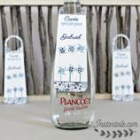Collerettes / étiquettes personnalisées pour goulots de bouteilles - thème moulins à vent et guirlande de moulins en liberty étoiles bleu  : lot de 3 ou 10