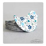 """Confettis de table x 70 : """"oiseaux en liberty bleu"""""""