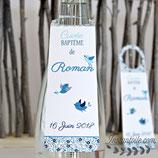 Collerettes / étiquettes personnalisées pour goulots de bouteilles - thème  : oiseaux bicolores et liberty : lot de 3 ou 10 - liberty au choix