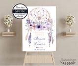 Panneau affiche de bienvenue : dreamcatcher  - attrape rêves, fleurs et plumes en aquarelle  - tons mauve, violet, rose et pêche - style bohème