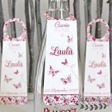 Collerettes / étiquettes personnalisées pour goulots de bouteilles - thème papillons en liberty : lot de 3 ou 10 - liberty au choix