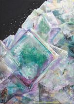 Des tableaux inspirés des minéraux et peints sur un apprêt de poudre de SHUNGITE, ce noir minéral et cosmique qui absorbe les rayonnements nocifs.