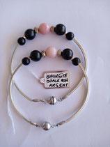 Bracelet Opale rose/Argent/Shungite