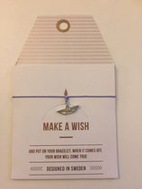 Make a Wish Armband - Paper boat silber - Mint Sweden