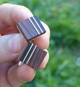 BOUTONS DE MANCHETTES, homme, bois de violette et argent massif, pieces uniques