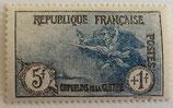 N°232 5 f. + 1 f. noir et bleu, au profit des Orphelins de la guerre