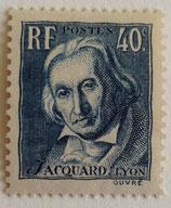 N°295  40 c. bleu gris, centenaire de la mort du tisseur Joseph-Marie Jacquard