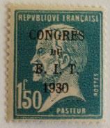 N°265  1 f. 50 bleu, congrès du BIT 1930
