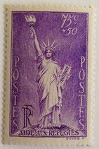 N°309  75 c. +50 c. violet, aide aux réfugiés
