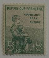 N°149 5 c.+5 c. vert, orphelins de la Guerre