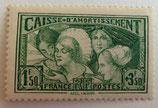 N°269  1 f. 50 + 3 f. 50 centimes vert jaune
