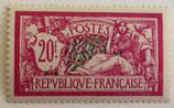 N°208 20 f. lilas rose et vert bleu, type merson