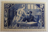 N°307  50 c. +10 c. bleu, chômeurs intellectuels