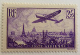 N°10 P.A. 2 f. 25 c. violet, avion survolant Paris