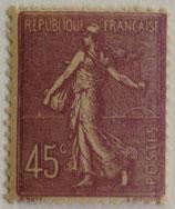 N°197 45 c. lilas, type semeuse