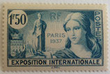 N°336 1 f. 50 bleu-vert, Exposition internationale de Paris 1937