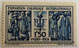 N°274  1 f. 50 centimes bleu, exposition coloniale internationale de Paris
