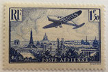 N°9 P.A. 1 f. 50 c. bleu, avion survolant Paris