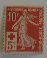 N°147 10 c.+5 c. rouge, Croix-Rouge type semeuse fond plein