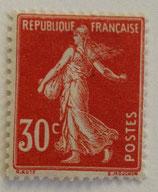 N°160 30 c. rouge, type semeuse fond plein