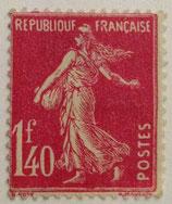 N°196 1 f. 40 rose, type semeuse fond plein
