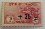 N°168 1 f.+1 f. surchargé +25 c. carmin, orphelins de la Guerre