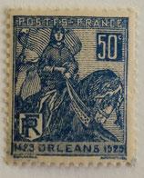 N°257 50 c. bleu, Jeanne d'Arc
