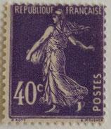 N°236 40 c. violet, type semeuse fond plein