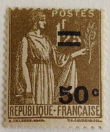 N°298  1 f. 25 surchargé 50 c. olive, type paix