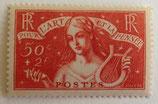 N°308  50 c. +2 f. rouge-brique, l'art et la pensée